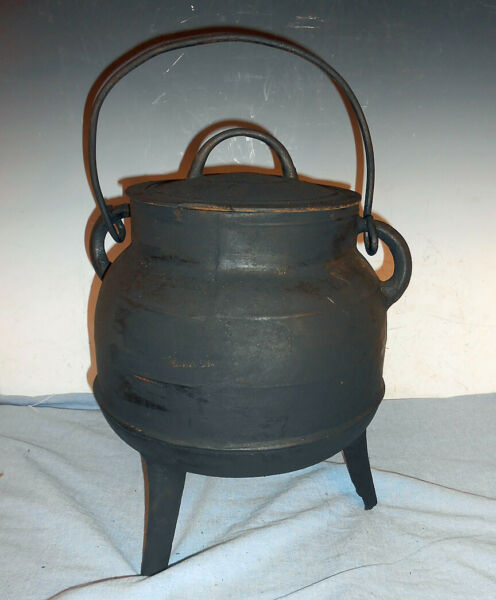 Antique Iron Fireplace Kettle w Cover amp; Forged Handle