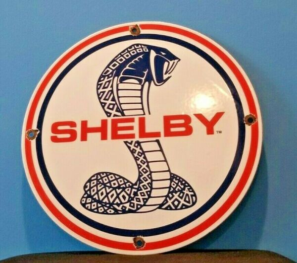 VINTAGE FORD AUTOMOBILE PORCELAIN GAS SERVICE SHELBY GT PUMP PLATE SIGN