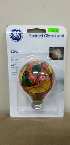 Stained Glass Light Bulb ge multi color