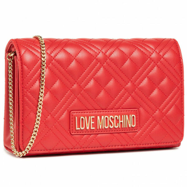 Woman crossbody bag Love Moschino red faux leather and purse with shoulder chain $103.69