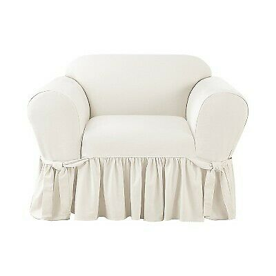 Essential Twill Ruffle Chair Slipcover White Sure Fit $64.99