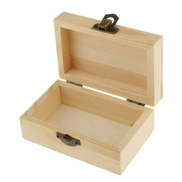 Rectangle Unfinished Wooden Jewelry Gift Box for Kids DIY Craft Toys
