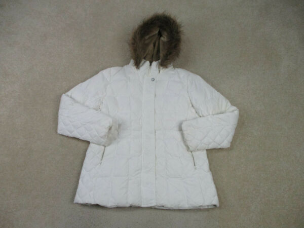 Tommy Hilfiger Jacket Womens Large White Outdoors Hooded Coat Puffer Ladies A67* $23.10