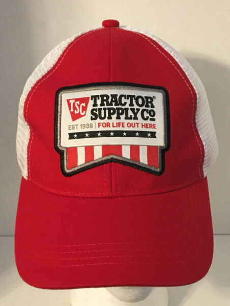 Tractor Supply TSC Cap Hat Red and White For Life Out Here Mesh Snapback $14.95