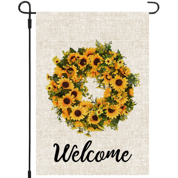 Mogarden Welcome Sunflower Garden Flag 12.5 x 18 Inch Premium Burlap Yard Flag