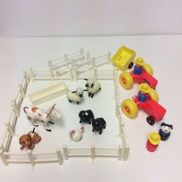 Vintage Fisher Price Little People Farm Set Fence Cow Pigs Sheep Dog Tractor C $49.99
