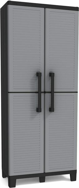 Gray Pantry Storage Cabinet 5 Shelves Laundry Closet Organizer Utility Garage