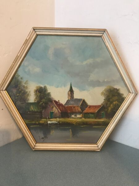 Antique Oil Painting on Board. Landscape. Church amp; Homes. Framed polygon.