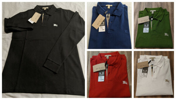 Burberry Brit Men#x27;s Long Sleeve Pique Polo Shirt Check Placket $104.95