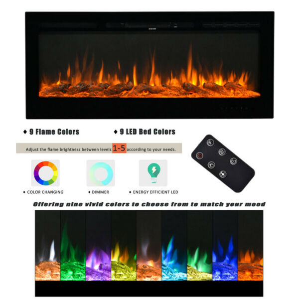 Wall Mounted Recessed Electronic Fireplace 36 50 Inch Realistic 9 Color Flame