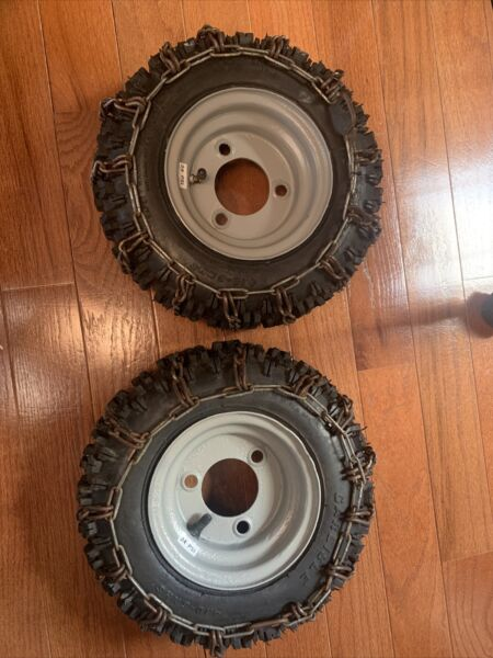 Ariens snowblower: TWO 2 tire rim assembly 4.10 3.50 6 tires amp; chains