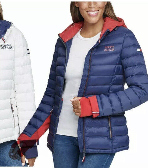 Tommy Hilfiger Ladies#x27; Packable Jacket Navy Crimson Hooded SMALL $40.00