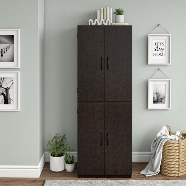 4 Door Kitchen Storage Cabinet Tall Pantry Cupboard Organizer Furniture Shelves