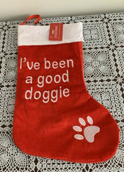 Brand New Dog Christmas Stocking Been A Good Doggie Design 4 Dog Rescue Charity $9.99