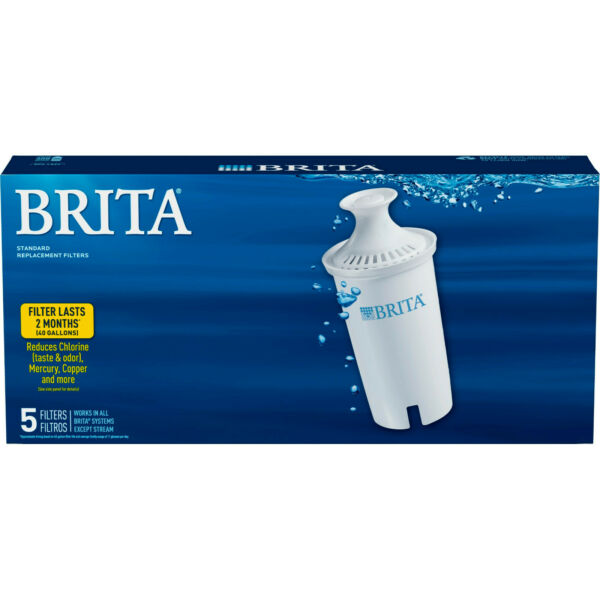 BRITA 5 Pack Pitcher Replacement WATER FILTERS Model OB03 NEW in Sealed Pkg