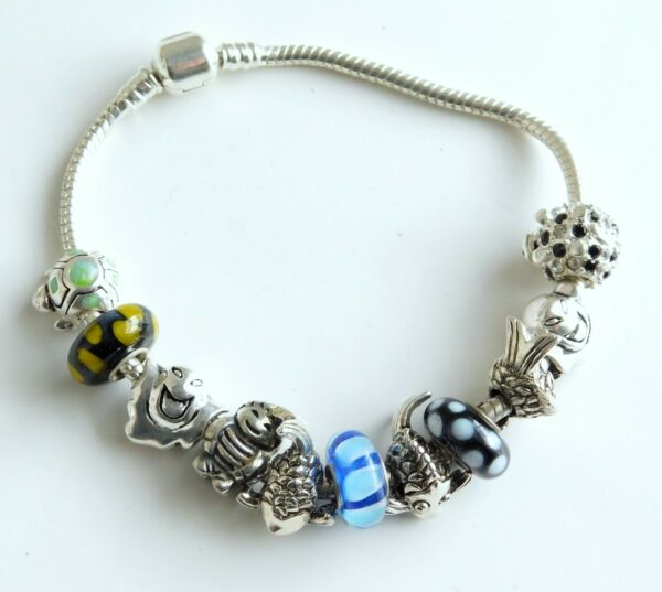 Beautiful 925 Sterling Silver Snake Bracelet with 925 Slide Charms Beads $49.99
