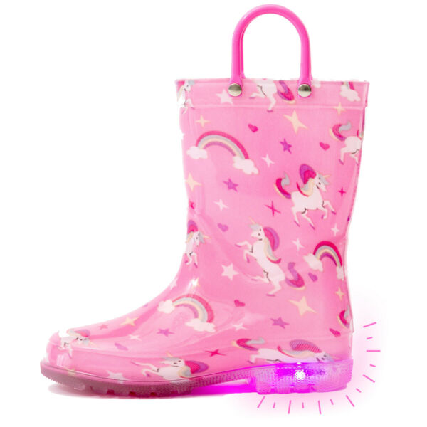 Outee Toddler Kids Adorable Printed Light Up Rain Boots Flashing in Rain $24.99