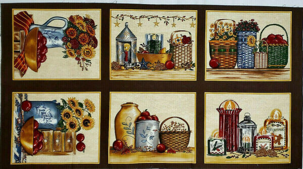 Moda Fabric Panel CRABAPPLE FARM by Deb Strain Cotton 23 X 42 Inches