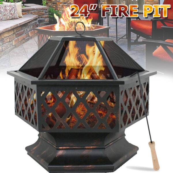 Fire Pit Heater Wood Burning Deck Stove Fireplace Table Outdoor Patio Backyard