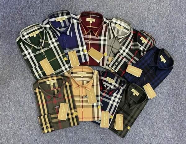 NWT Brand New Burberry MEN#x27;S Button up CASUAL Check shirt size S XXL $99.00