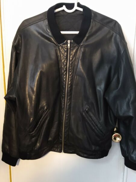 French Vintage Leather Bomber Jacket Men#x27;s M