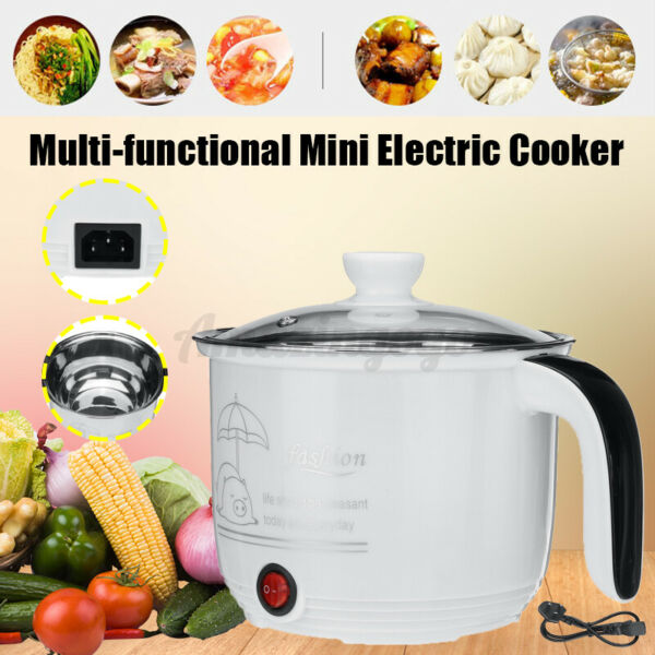 1.8L Small Slow Cooker Stainless Cooking Pot Mini Kitchen Appliance Portable US
