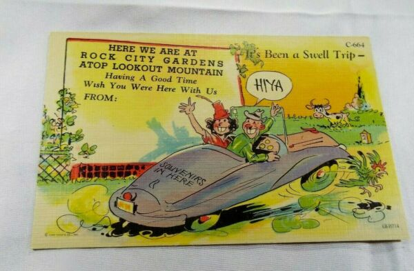 UNUSED VINTAGE ROCK CITY GARDENS TENNESSEE ATOP LOOKOUT MOUNTAIN POST CARD READ $4.50