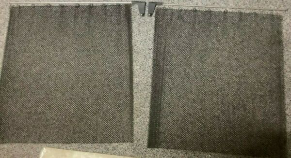 Fireplace Black Mesh Replacement Curtain Screen 2 Panels 24quot; x 23quot; Replacement