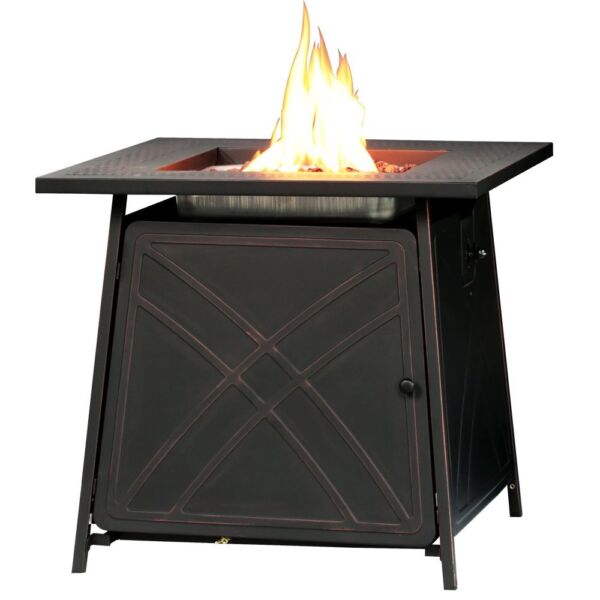 28quot;Outdoor Propane Fire Pit Patio Heater Gas Table Square Fireplace Blue Glass