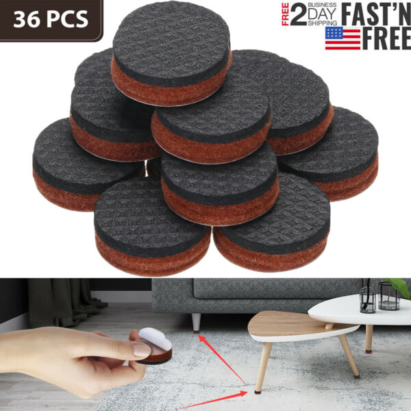 36PCS Non Slip Felt Pads For Furniture Floor Protectors Table Chair Feet Leg US $6.59