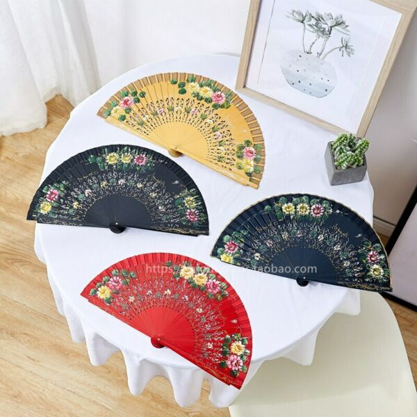 Cloth Edge Spanish Painted Fan Hand Folding Style Fans Wood Fans Dance Fans $18.04