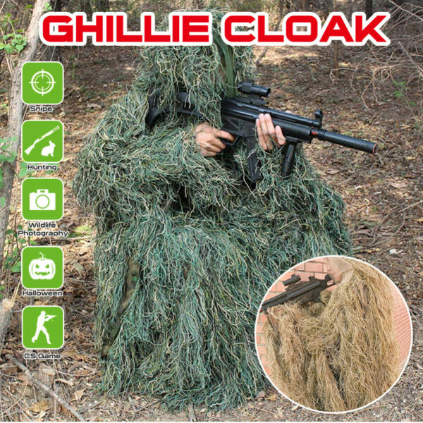 Grass Camouflage Cloak Desert Ghillie Poncho for Sniper Jungle Hunting Shooting