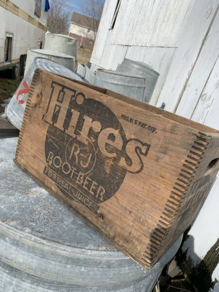 Antique Old Hires RJ Root Beer Dovetailed Wooden Crate Box Vintage Soda