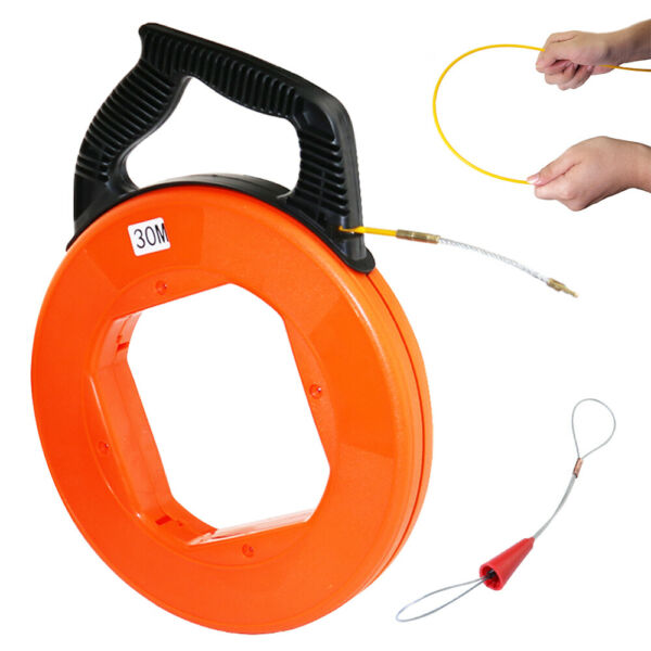 100FT Fiberglass Fish Tape Reel Cable Pull Push Tool Electrician Wire Puller $17.99