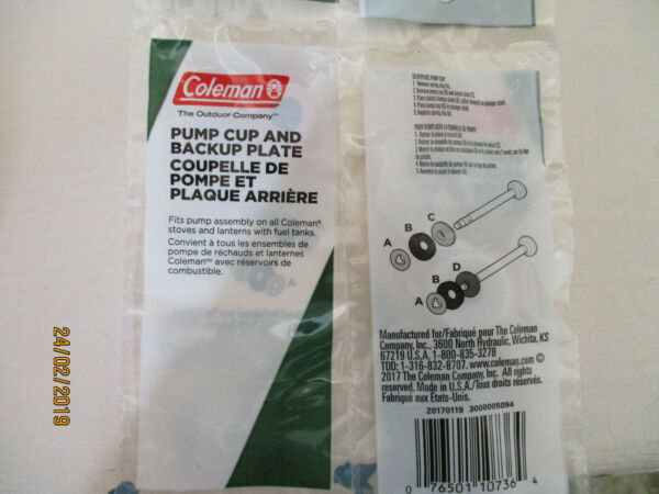 LOT OF 2 Coleman Pump Cup leather and back up plate Original replacement parts $12.99