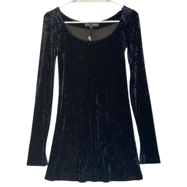 Vintage Betsey Johnson Black Crushed Velvet Stretch Skater Mini Dress Size P