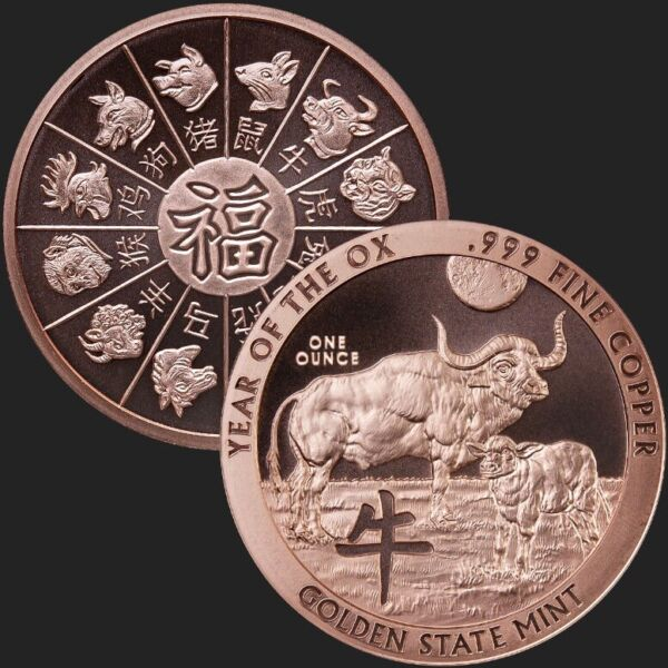 1oz .999 Copper BU Round USA Made YEAR OF THE OX— FREE SHIPPING