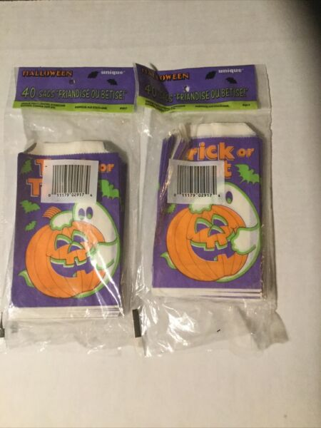 2 Vintage 1988 Unique Halloween Trick Or Treat Candy Bags Unopened Quantity 40 $15.00