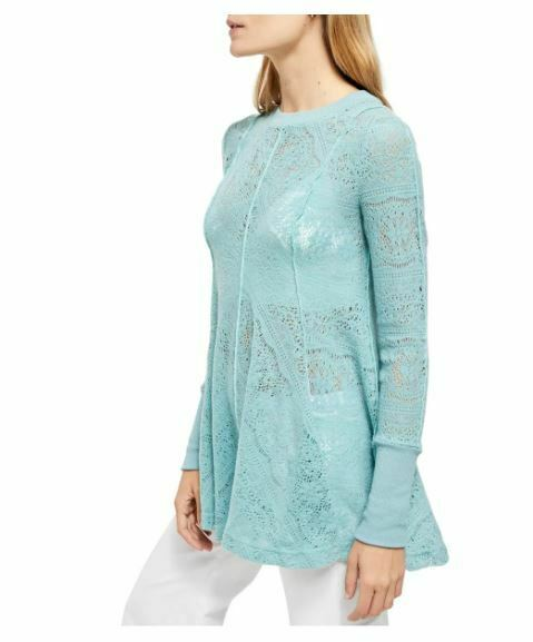 Free People Coffee In The Morning Tunic Pullover Turquoise M