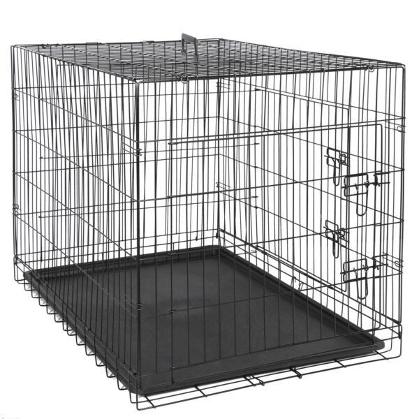 42quot; Dog Crate Kennel Folding Metal Pet Cage With Tray Pan Indoor Durable 2 Door $74.99