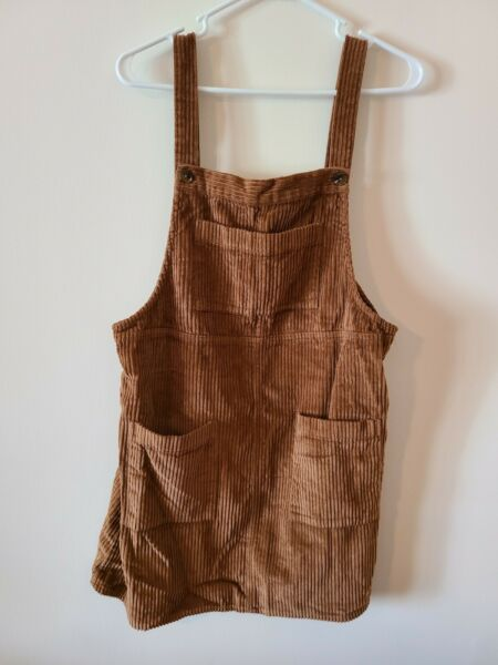 Wild Fable Corduroy Burlap Brown Jumper Overall Dress