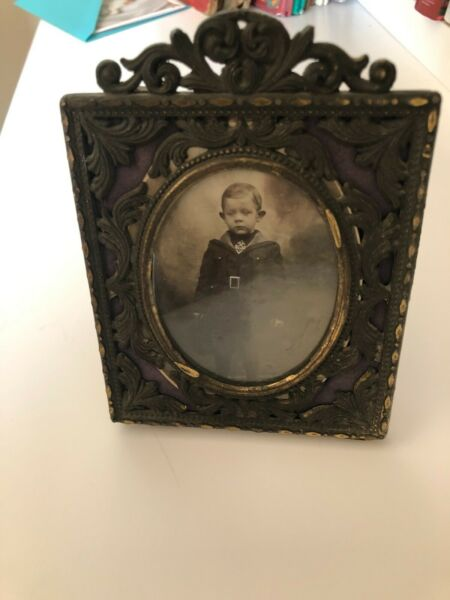 Vintage Antique Cast Metal Picture Frame Made in Italy 4 by 5 1 2 inches