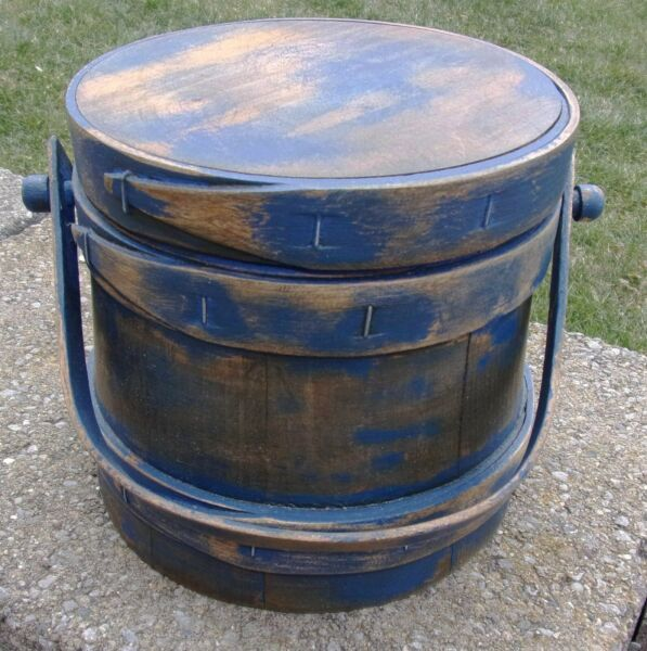 6 1 4quot; Small Firkin Wood Sugar Bucket Shaker Pantry Box NAVY Paint Primitive BOX