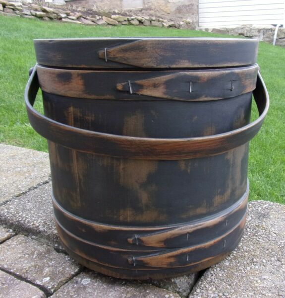 12quot; Firkin Wood Sugar Bucket Shaker Pantry Box BLACK Paint Primitive X LARGE Box