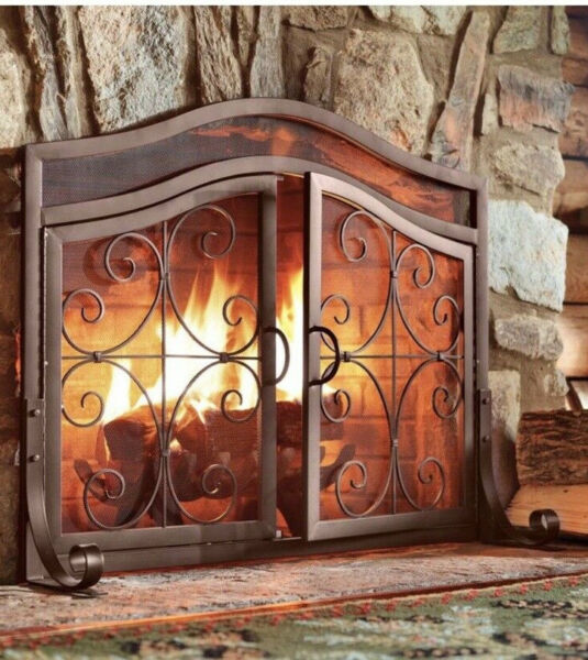 Plow amp; Hearth Large Crest Fireplace Screen with Doors Solid Wrought Iron Frame