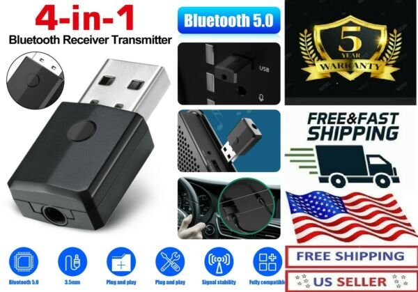 Bluetooth 5.0 Transmitter Receiver 4 IN 1 Wireless USB Aux Adapter for Car PC TV $9.99