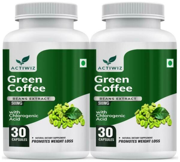 Actiwiz Green Coffee Beans Extract 50% CGA for Weight Loss 30 Capsules 5dG