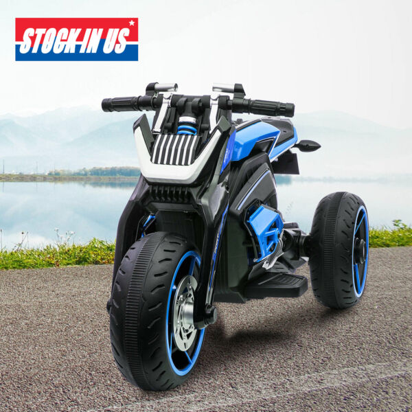 12V Kids Ride On Motorcycle Three wheeled Electric Toy Bike Car with Mp3 Horns $140.99