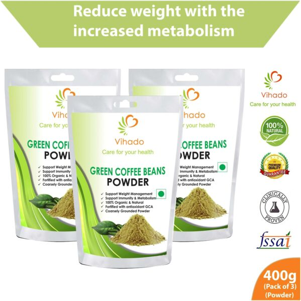 Vihado Organic Green Coffee beans Powder for weight loss 400g U4Y
