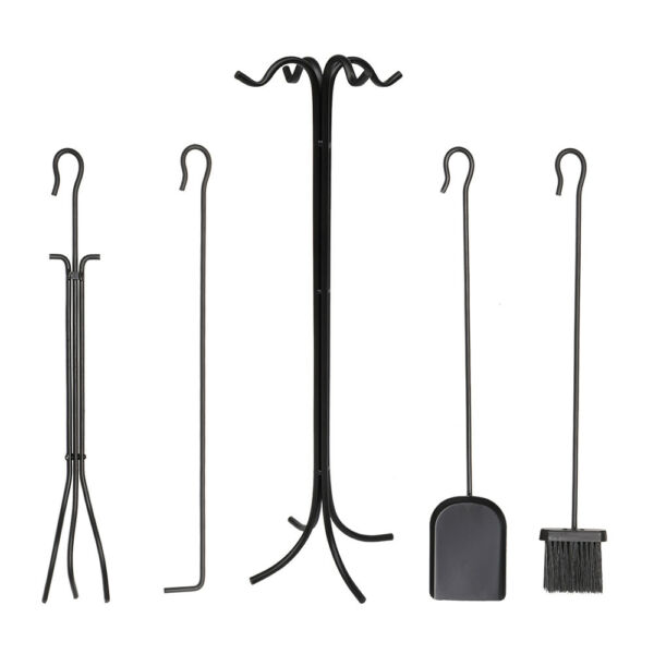 5 Piece Hand Forged Iron Fireplace Tool Set w Poker Tongs Shovel Broom Stand